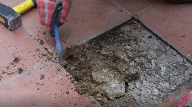 baldosa rota jardín _ quitar mortero